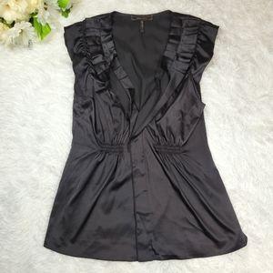 BCBGMaxAzria Black Pleated Shirt Blouse Sleeveless Size Medium Silky Satin Top